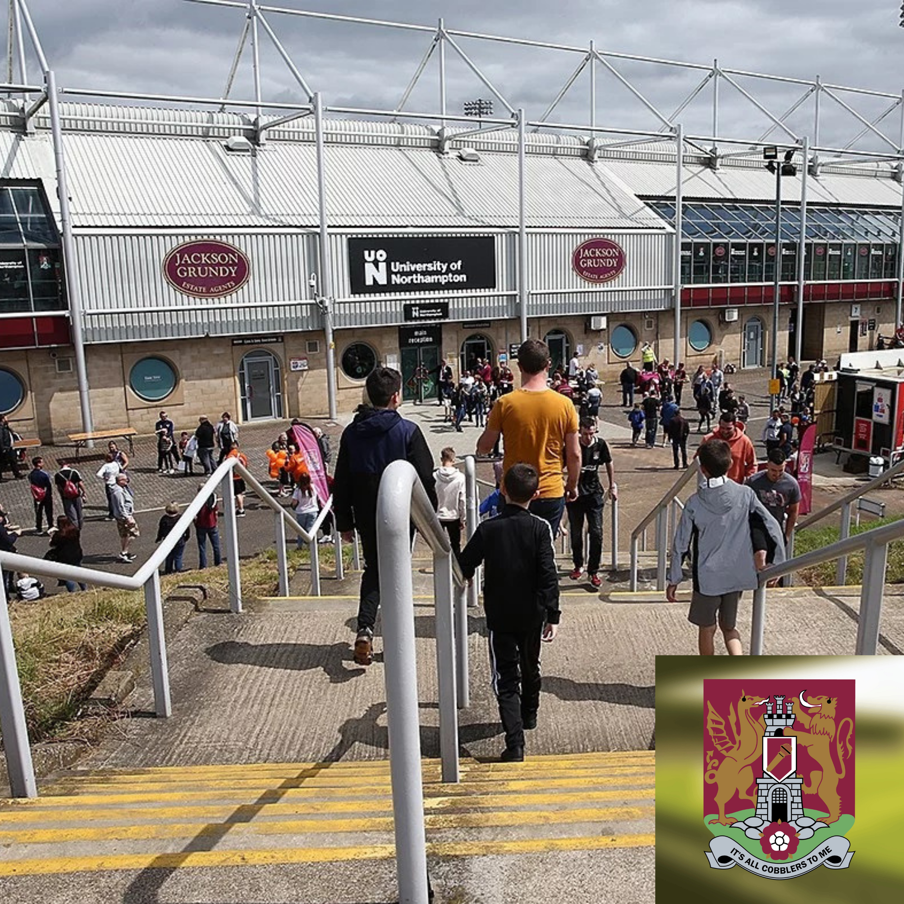 People walking down the steps in front of the main stand at Sixfields Stadium, Northampton. Podcast logo in bottom right corner