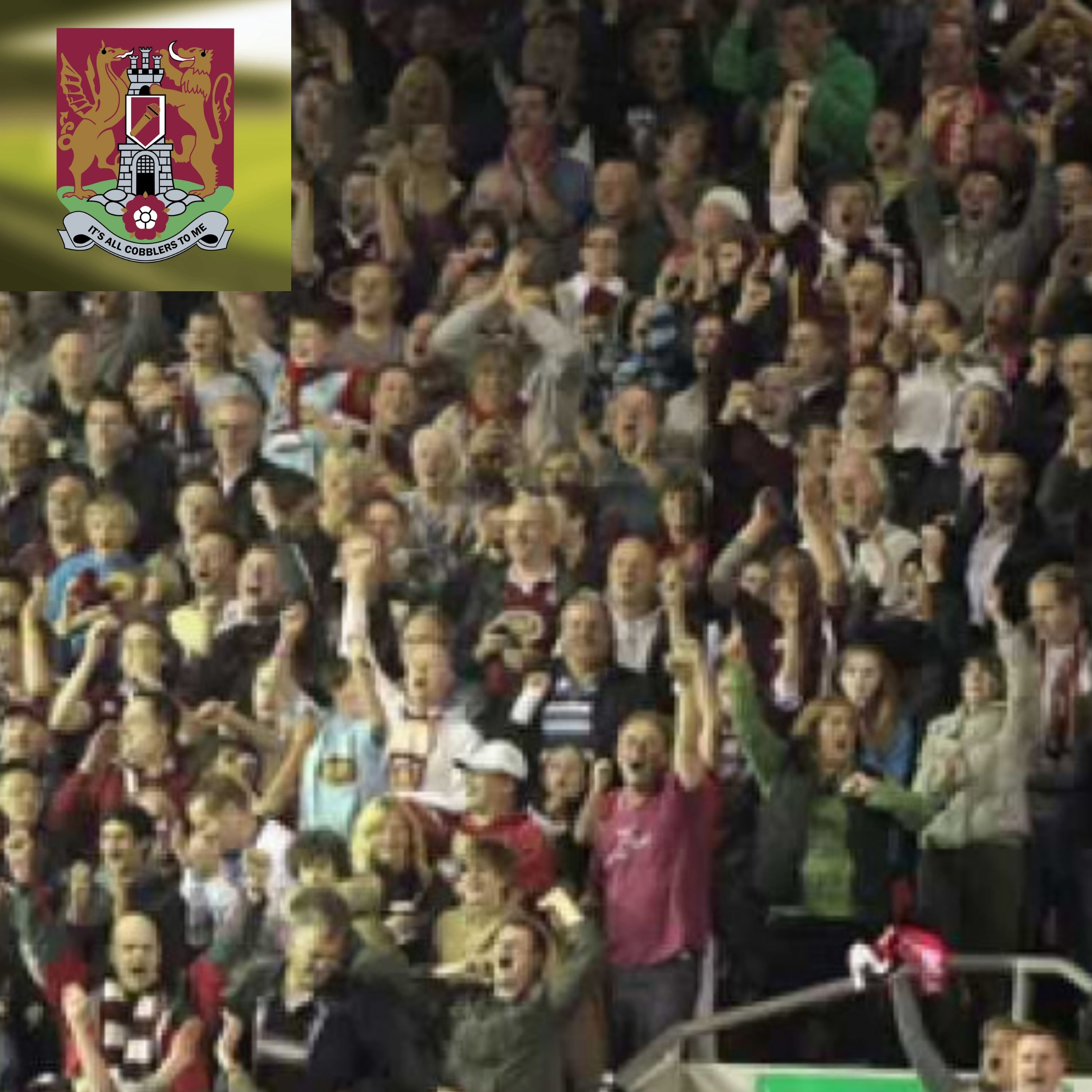 Northampton fans in the Anfield Road End of Anfield when the Cobblers beat Liverpool in the League Cup in 2011