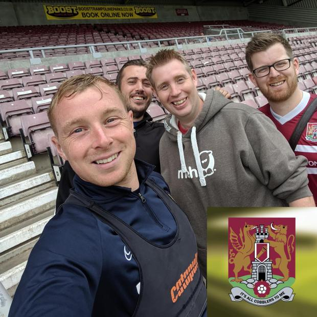 Nicky Adams poses for a photo with Neil, Charles and Danny of the Cobblers To Me podcast