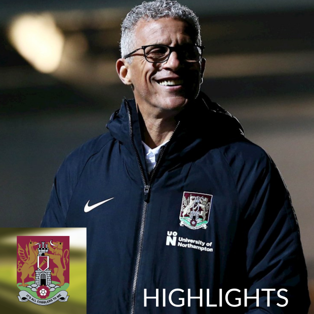Keith Curle in Northampton tracksuit. Cobblers To Me logo bottom left and the word Highlights written in the bottom right.