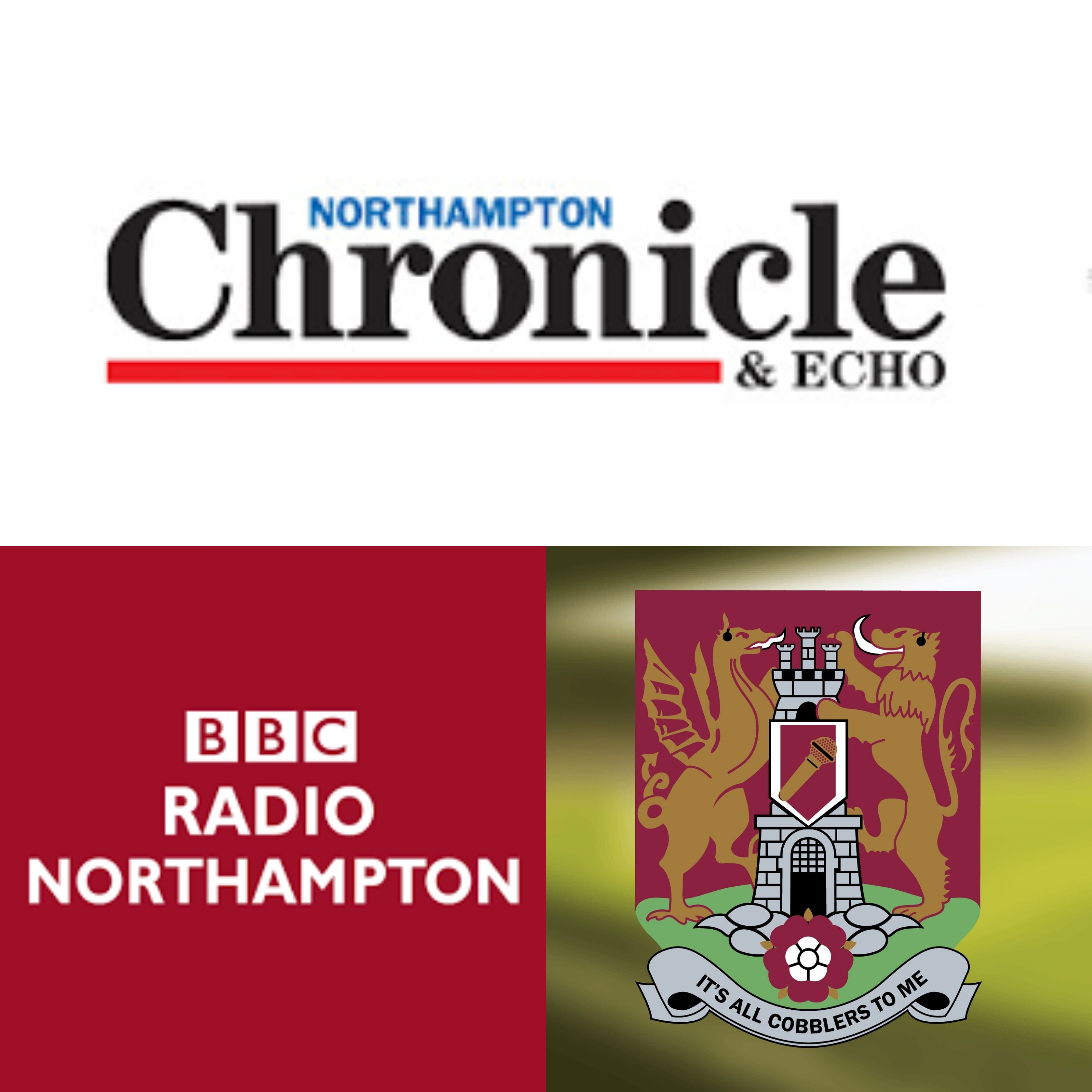 Logos of the Chronicle and echo newspaper, BBC Radio Northampton and It's All Cobblers To Me podcast side by side