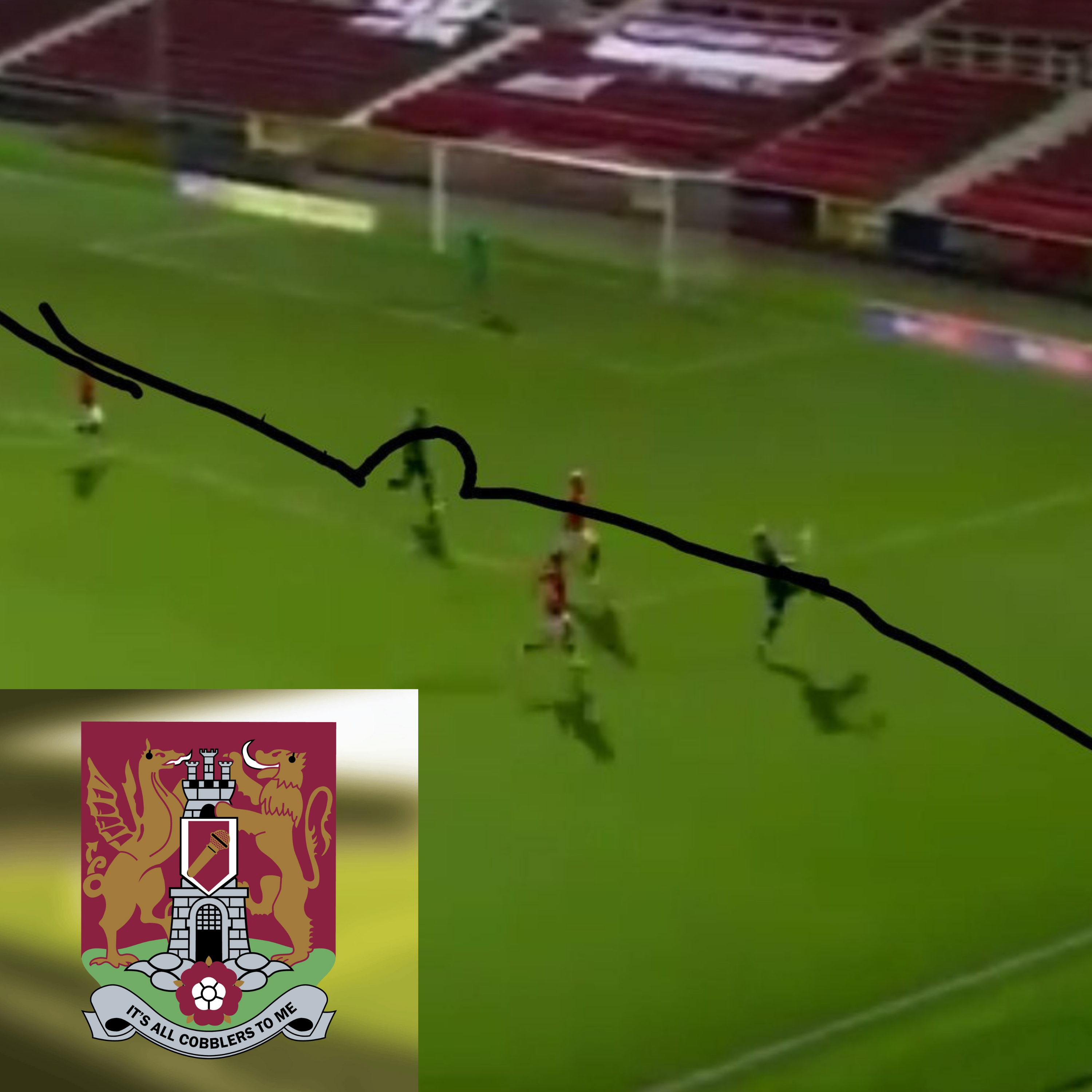 Screenshot of the offside decision from Swindon vs Northampton on 20th August 2019. Badly drawn, straight line with semi circle around attacker, across the pitch. Podcast logo in bottom left