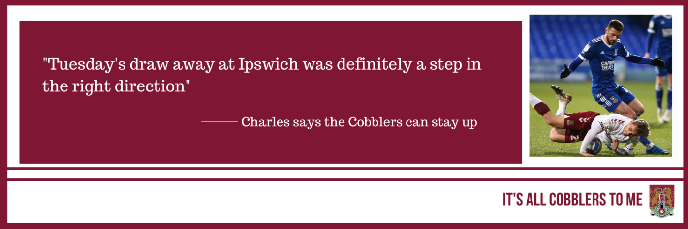 text to the left of a picture of match action from Ipswich vs Northampton