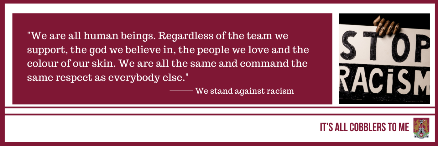 text to the left of a picture of a stop racism banner held by the hand of a person of colour